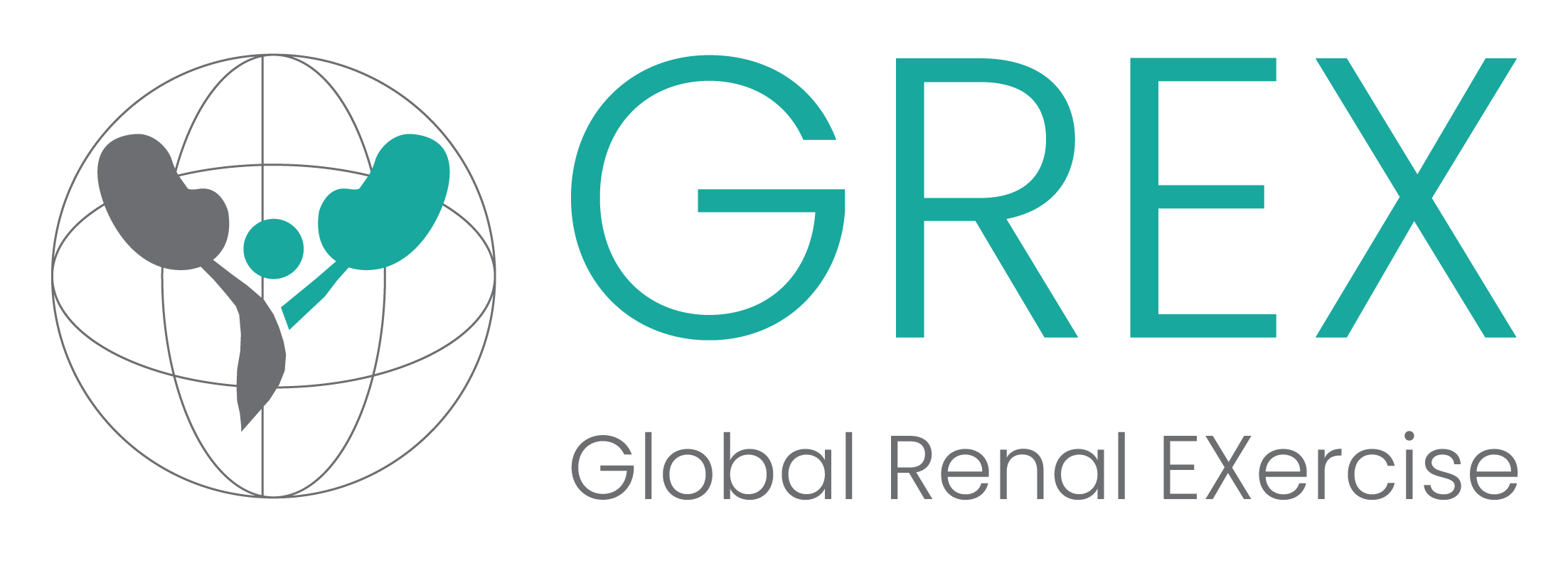 logo of sphere with kidneys inside and text reading GREX Global Renal Exercise